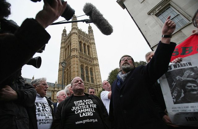 Members of the so-called Shrewsbury 24, who were convicted for picketing nearly 50 years ago, have won a bid to clear their names at the Court of Appeal. (Photo by Dan Kitwood/Getty Images)