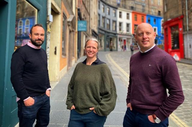 Joseph Twigg, chief executive of Edinburgh fintech Aveni; Dr Lexi Birch, head of Aveni Labs; and Jamie Hunter, chief operating officer.