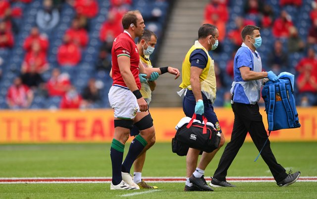 Lions captain Alun Wyn Jones leaves the field with a shoulder injury during the 1888 Cup match between the British & Irish Lions and Japan at BT Murrayfield.