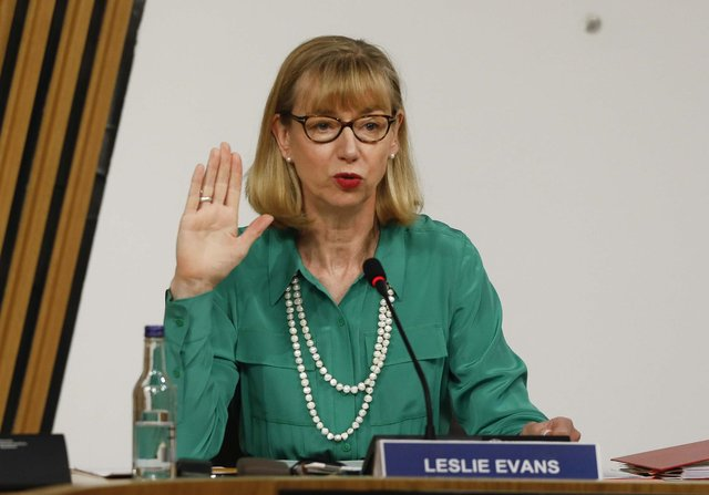 Scottish Parliament handout photo of Permanent Secretary to the Scottish Government Leslie Evans giving evidence at Holyrood to a Scottish Parliament committee examining the handling of harassment complaints involving current and former Ministers.