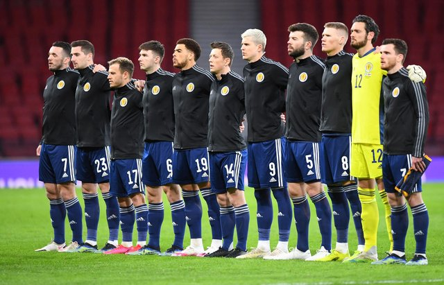 Scotland players line up ahead of World Cup qualifier against Faroe Islands