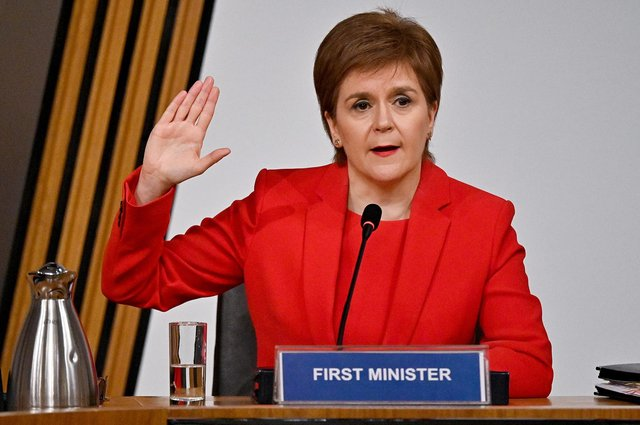 First Minister Nicola Sturgeon taking oath before giving evidence to the Committee on the Scottish Government Handling of Harassment Complaints, at Holyrood in Edinburgh, examining the handling of harassment allegations against former first minister Alex Salmond.