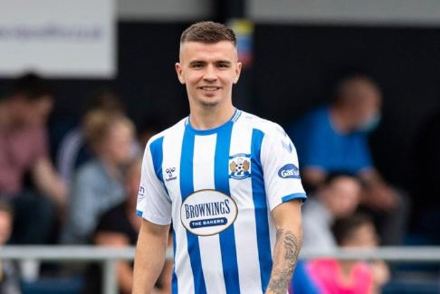 Kilmarnock's Dan Armstrong in action during a Premier Sports Cup tie between East Kilbride and Kilmarnock at K-Park, on July 10, 2021  (Photo by Mark Scates / SNS Group)