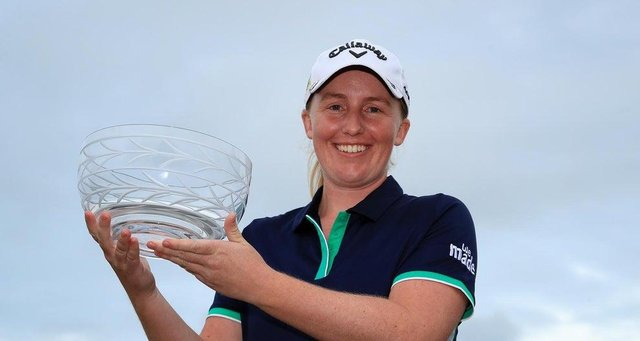Gemma Dryburgh celebrates the second of her 2020 Rose Ladies Series successes at Royal St George's