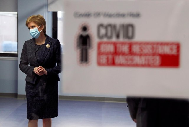 First Minister Nicola Sturgeon during a visit to the Western General Hospital, Edinburgh, to view preparations at the COVID-19 Vaccine Hub.