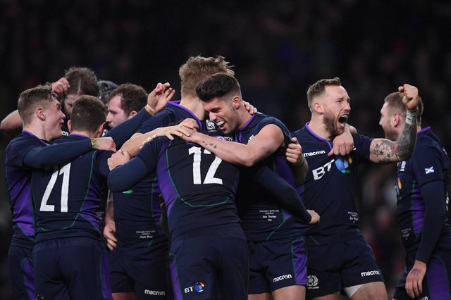 Scotland celebrate Sam Johnson's try in the never-to-be-forgotten 38-38 draw with England at Twickenham in London. Picture: Laurence Griffiths/Getty Images