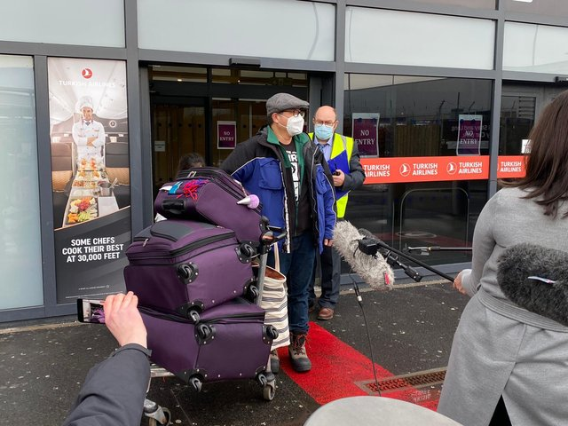 """The first international arrival landed in Scotland from the United States via Dublin Airport at 9:55am, before he and his daughter were directed to the nearby Hilton Hotel to begin what the Scottish Government describes as """"supported isolation""""."""