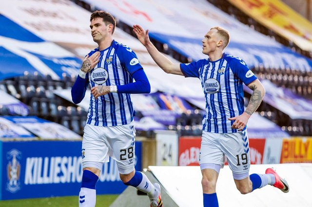 Kilmarnock's Kyle Lafferty (left) is in great form for the Rugby Park outfit.