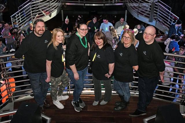 Awakening disability club night organisers Neil Kilgour, Jill Donoghue, Norah McGowan, Maureen Kilgour, Oonagh Sear and David Irvine at City Nightclub, Falkirk. Picture taken in 2020. Credit: Michael Gillen.