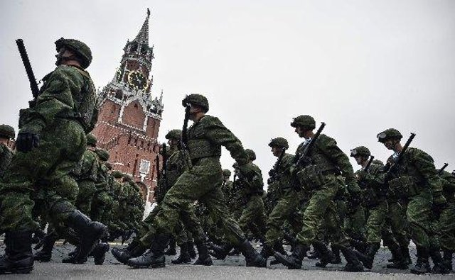 Russian servicemen march through Red Square during the Victory Day military parade in downtown Moscow on May 9, 2019. PIC: Alexander Nemenov / AFP / Getty Images