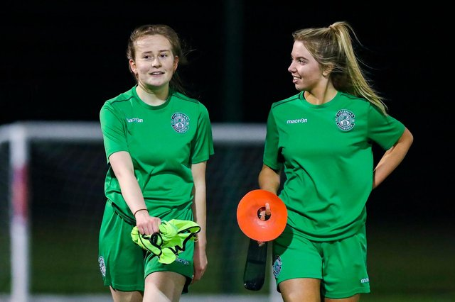 Hibs Under-19s girls Emma Miller and Ellie Crawford are delighted to have returned to training this week. Picture by Craig Doyle