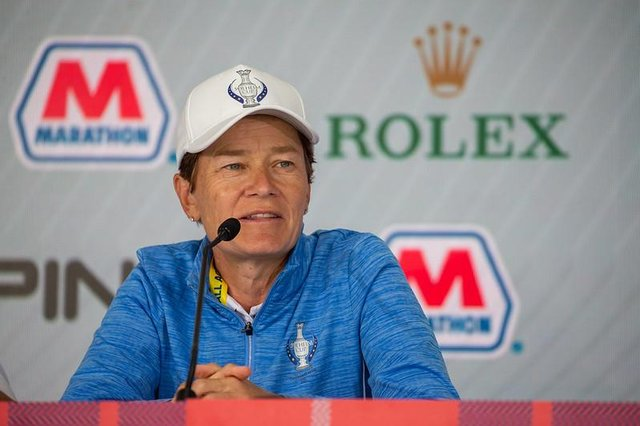 European captain Catriona Matthew talks at a press conference at Inverness Golf Club in Toledo, Ohio, in the build up to this week's Solheim Cup. Picture: Tristan Jones.