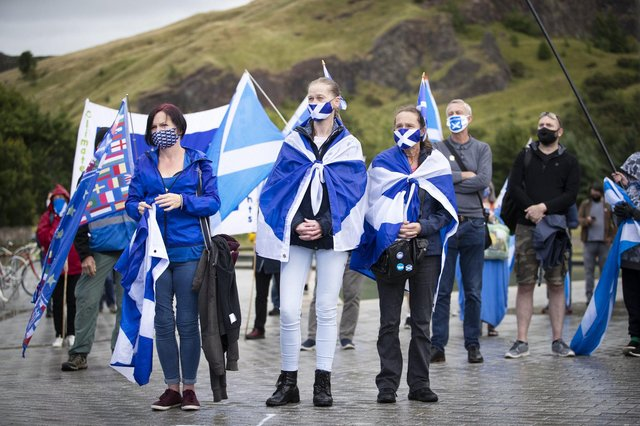 Members from All Under One Banner take part in a static demonstration for Scottish independence outside the Scottish Parliament in Edinburgh. Picture: Jane Barlow/PA Wire