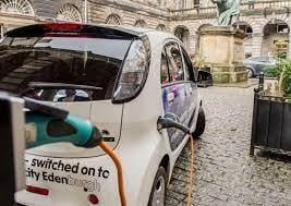An electric vehicle charging point in Edinburgh