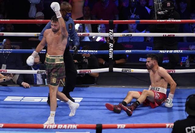 Josh Taylor walks away after knocking down Jose Ramirez in Las Vegas. He wants his next fight to be in Scotland. Picture: John Locher/AP