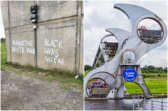 Shocking graffiti has been daubed on the side of the Falkirk Wheel, following a similar incident at a monument to Robert the Bruce earlier today. (Credit: Tam Neil)