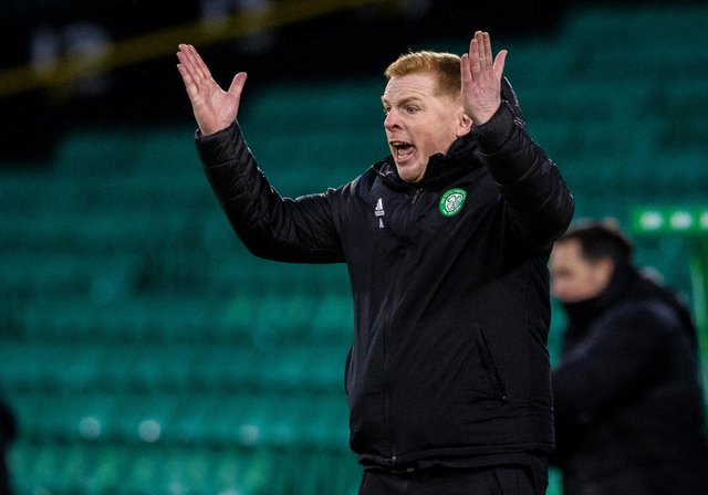 Neil Lennon cuts an animated figure on the touchline in January as Celtic take on St Mirren