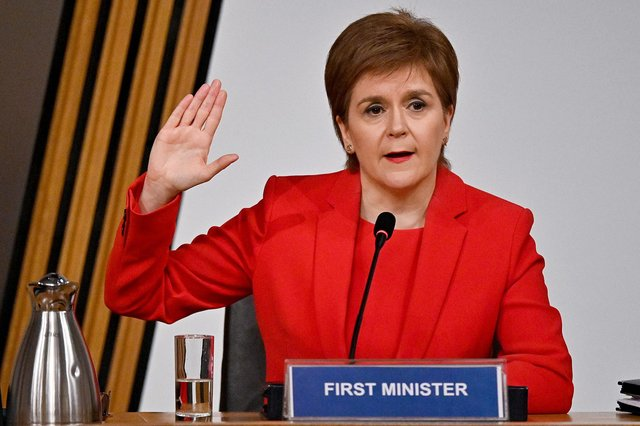 Nicola Sturgeon takes the oath before giving evidence to the MSPs' committee investigating the Scottish government's mishandling of harassment complaints about Alex Salmond (Picture: Jeff J Mitchell/PA)