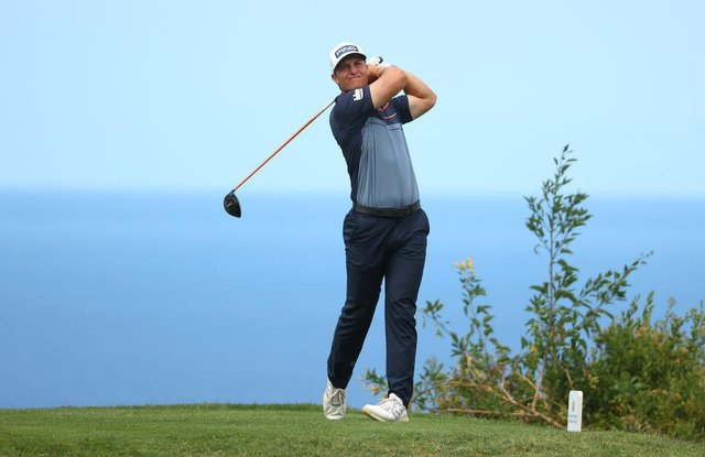 Calum Hill tees off on the sixth hole during the third round of the Canary Islands Championship at Golf Costa Adeje in Tenerife. Picture: Andrew Redington/Getty Images.