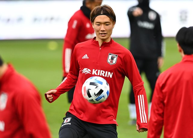 Ko Itakura takes part in a training session ahead of a friendly match between Japan and Panama in Austria
