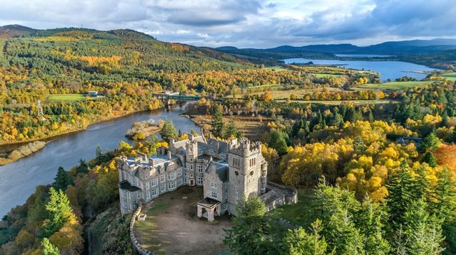 Carbisdale Castle in Sutherland has an elevated position with views over the Kyle of Sutherland. PIC: Strutt & Parker.