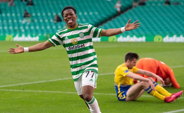 Karamoko Dembele scores his first senior goal, to bring up the 4-0 win over St Johnstone. A strike that should earn him a first senior start in the club's final game of the season, away to Hibs on Saturday. (Photo by Paul Devlin / SNS Group)