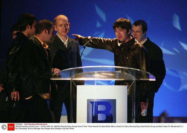 Alan McGee, at the 1996 Brit Awards as Oasis accept one of three awards. Picture: Alan Davidson/Shutterstock