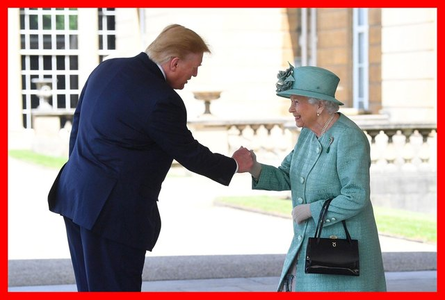 A meeting of monarchs? Queen Elizabeth greets US President Donald Trump as he arrives at Buckingham Palace last year (Picture: Victoria Jones/PA Wire)