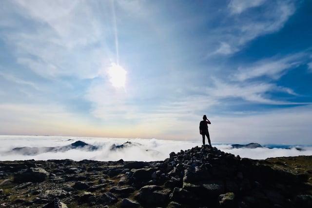 Cloud inversion at Beinn Narnain, southern Highlands of Scotland.