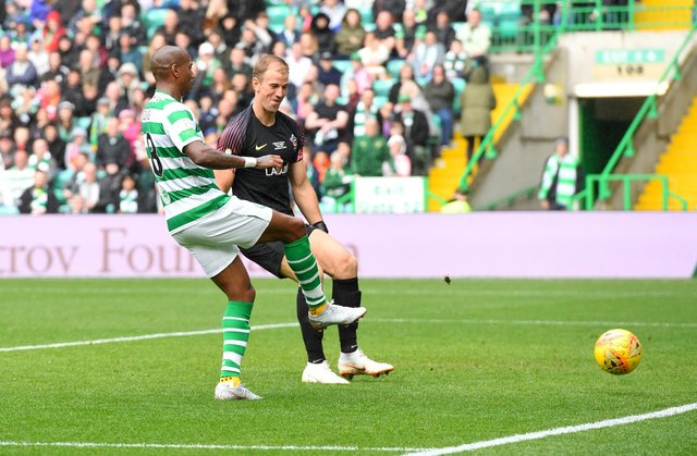 Celtic's Ashley Young scores against then visiting keeper Joe Hart in the Milner/Petrov charity match three years ago this week.  (Photo by Craig WilliamsonSNS Group).