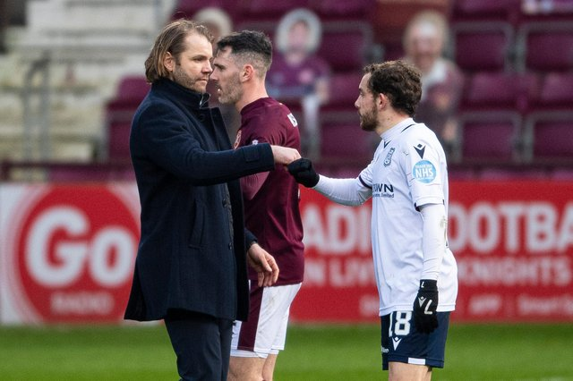 Hearts manager Robbie Neilson with Paul McMullan at full-time against Dundee.