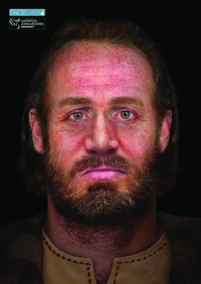 The reconstructed face of the clansman who was laid to rest in the six-headed burial. PIC:Facelab/Liverpool John Moores University