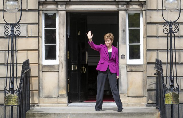 Scottish First Minister and SNP leader Nicola Sturgeon on the steps of Bute House in Edinburgh after the SNP won a fourth victory in the Scottish Parliament election.