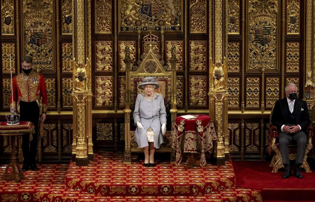 Britain's Queen Elizabeth II before delivering a speech in the House of Lords during the State Opening of Parliament at the Palace of Westminster in London. Picture: Chris Jackson/Pool via AP
