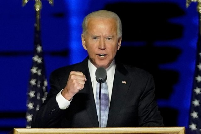 US President-elect Joe Biden delivers remarks in Wilmington, Delaware, on November 7, 2020, after being declared the winner of the US presidential election. (Photo by Andrew Harnik / POOL / AFP) (Photo by ANDREW HARNIK/POOL/AFP via Getty Images)