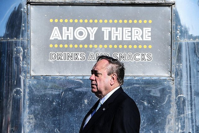 Alba Party leader Alex Salmond gestures as he launches his manifesto at The Falkirk Wheel in Stirlingshire. Picture: Andy Buchanan/AFP via Getty Images