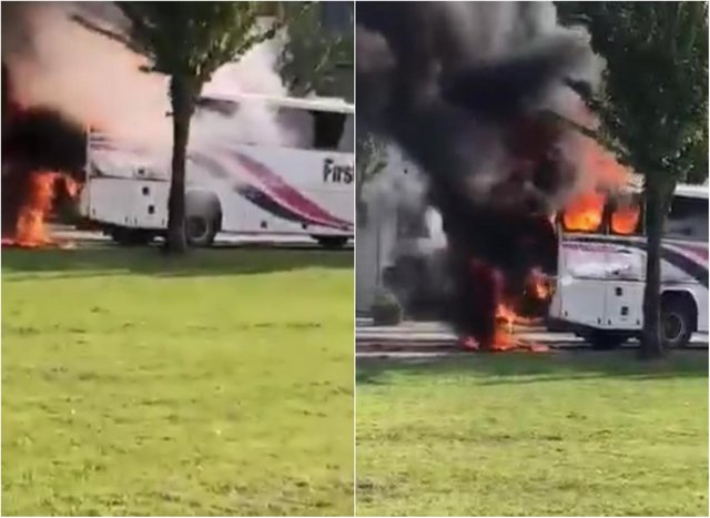 Culross bus fire: Shocking video shows moment Fife school bus burst into flames. Credit: Fife Jammers