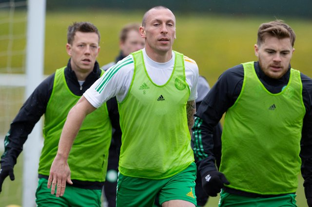 Celtic captain Scott Brown being put through his paces at training. Picture: SNS