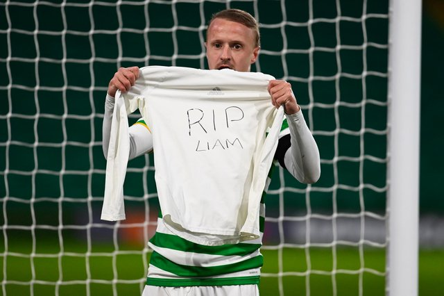 Leigh Griffiths with a message for his late cousin after scoring against Hamilton Accies. Picture: SNS