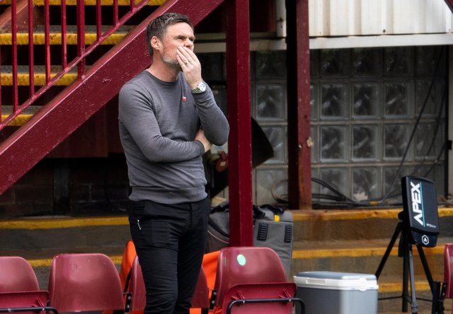 Motherwell manager Graham Alexander cuts a frustrated figure on the sidelines at Fir Park. Picture: SNS