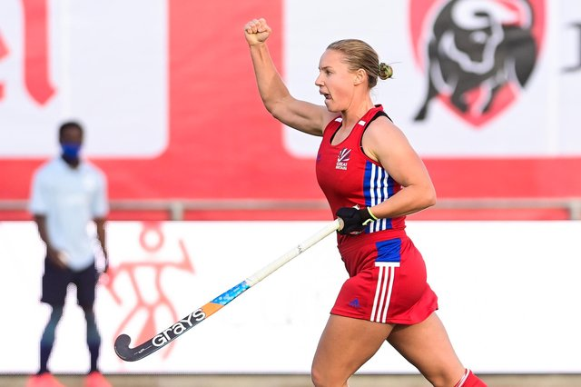 Sarah Robertson celebrates scoring for Great Britain against the Belgian Red Panthers in Brussels last year.