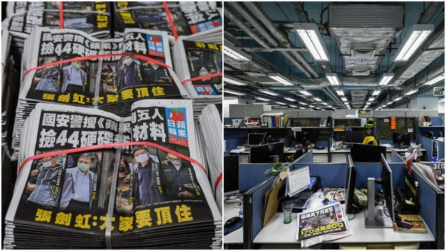 Copies of the Apple Daily newspaper are seen stacked in Hong Kong, after police arrested the chief editor and four executives of the pro-democracy newspaper (Getty Images)