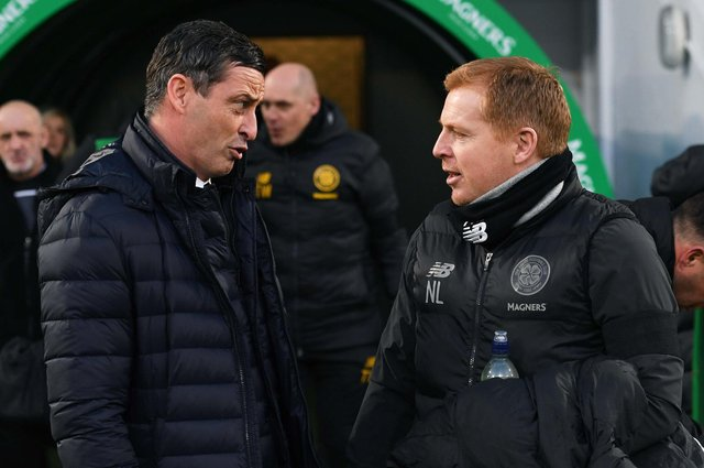 Hibs boss Jack Ross (L) and former Celtic manager Neil Lennon. Photo by Craig Foy / SNS Group