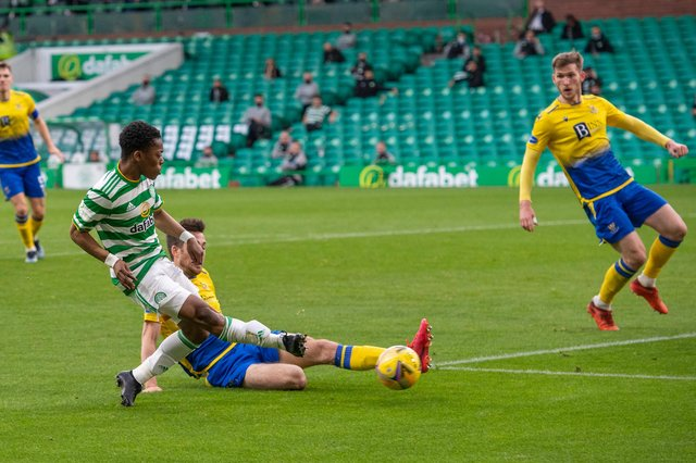 Celtic's Karamoko Dembele scores to make it 4-0 against St Johnstone.