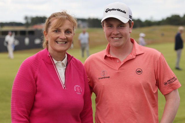 Carol Paterson and Bob MacIntyre during the abrdn Scottish Open Pro Am at The Renaissance Club. Picture: Kevin McGlynn