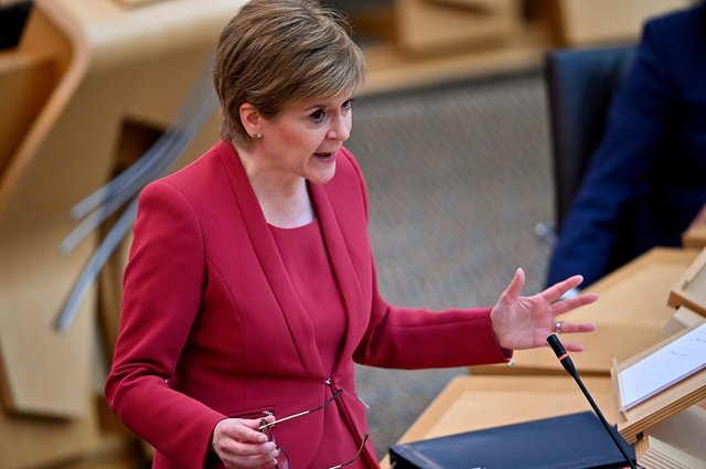 First Minister Nicola Sturgeon during the statement at the Scottish Parliament in Edinburgh, on the next stage of lockdown easing. Picture date: Tuesday June 1, 2021.