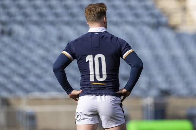 Stuart Hogg warning the No 10 jersey during the Scotland team run at BT Murrayfield ahead of the Italy game. Picture: Craig Williamson/SNS