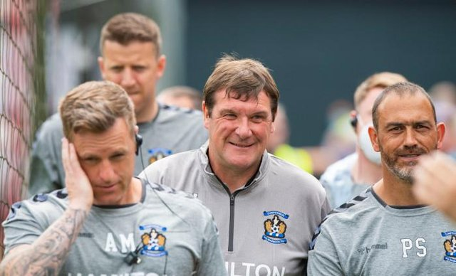 Kilmarnock manager Tommy Wright (centre) was a happy man at East Kilbride on Saturday afternoon. (Photo by Mark Scates / SNS Group)