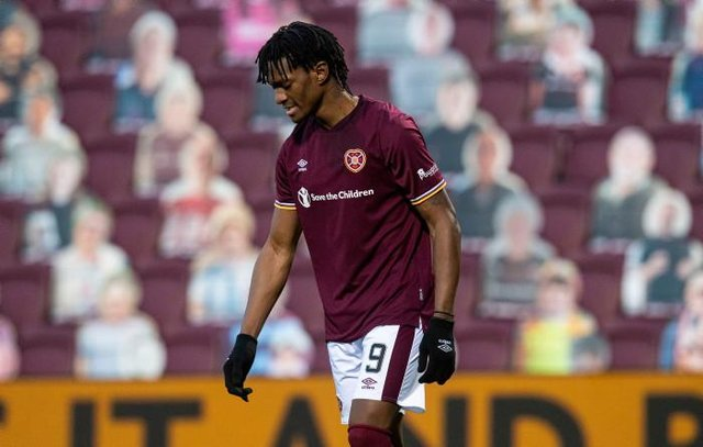Armand Gnanduillet in action for Hearts during a Scottish Championship match between Hearts and Dunfermline Athletic at Tynecastle. (Photo by Ross MacDonald / SNS Group)