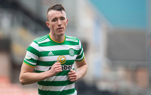 DUNDEE, SCOTLAND - MARCH 07: David Turnbull in action for Celtic during a Scottish Premiership match between Dundee United and Celtic at Tannadice Park, on March 07, 2021, in Dundee, Scotland.(Photo by Craig Foy / SNS Group)